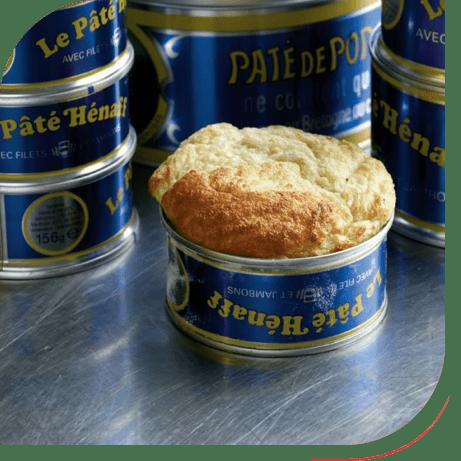 Soufflé in a can of Henaff Pork Paté